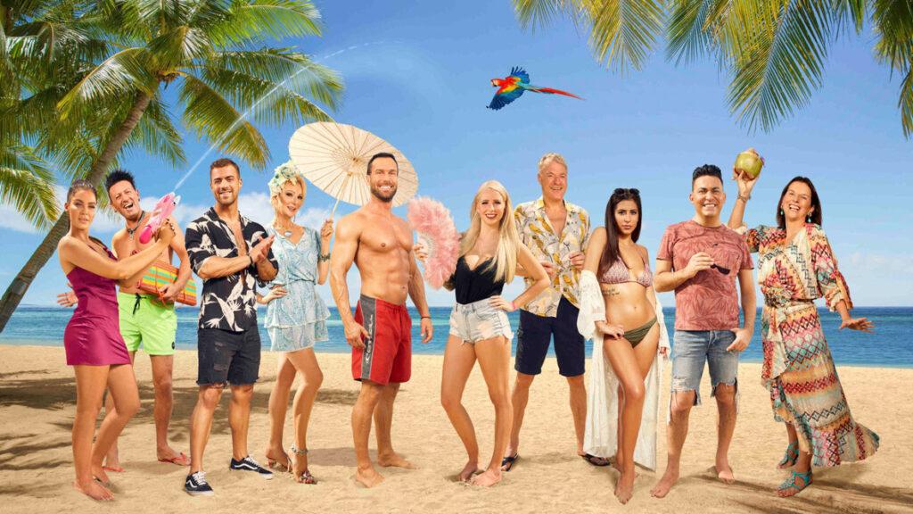 """Reality-Fans aufgepasst! Das Ranking der Reality-Shows – Der Cast von """"Promis unter Palmen – Für Geld mache ich alles!"""" Foto: Richard Hübner/SAT.1 /dpa"""